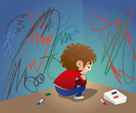 Un bambino infelice dà sfogo al suo fastidio disegnando graffiti sul muro e si nasconde all'angolo Illustrazione vettoriale.
