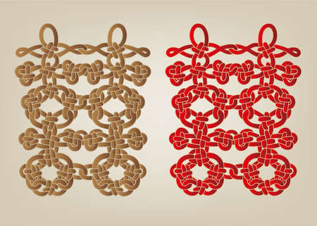 Chinese Double Happiness Knots Vector illustration.