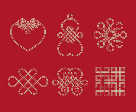 Traditional Chinese lucky knots representing a meaning of infinity and eternity Vector illustration.