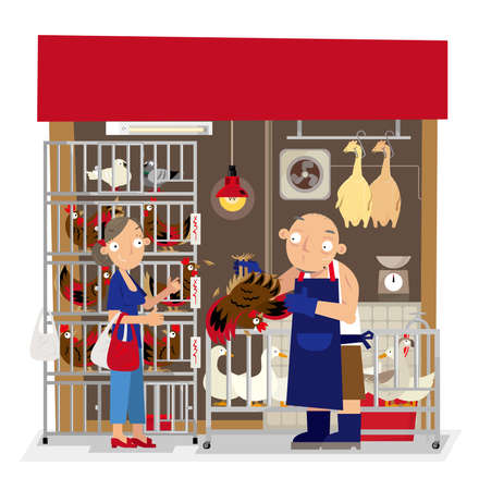 Vector illustration of local live poultry stall