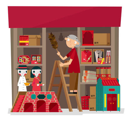 Vector illustration of local incense and paper-crafted offering shop in Hong Kong