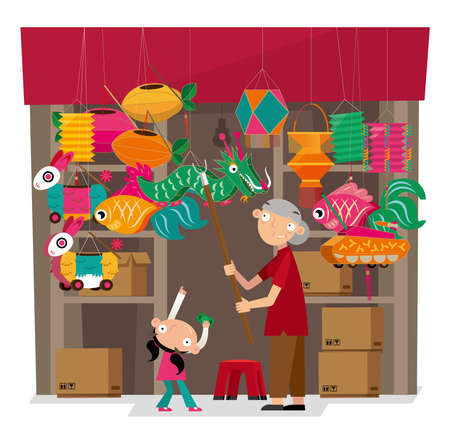Vector illustration of paper-crafted offerings shop in Hong Kong. During the Chinese Lantern Festival, it hangs varieties of lanterns at the shop front. Vettoriali