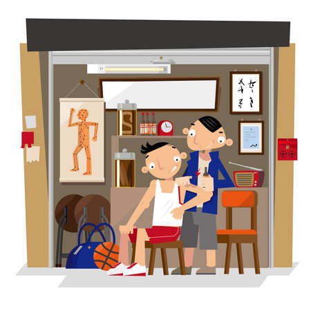 Vector illustration of a local small traditional Chinese bonesetter shop in Hong Kong Ilustração