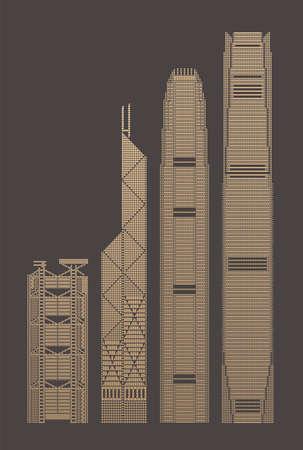 Pixels graphic of Hong Kong landmark buildings  イラスト・ベクター素材