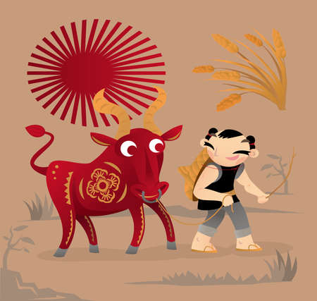 Cartoon illustration of Chinese Spring Ox and Cowherd picture. It is used as a weather calendar to guide people in their agricultural production in old China. Also regarded as a new year lucky symbol.