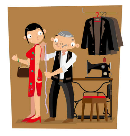 A Hong Kong tailor gets length measurement of his client Illustration