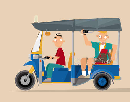 Vector illustration of an auto rickshaw tourist taxi (tuk-tuk) in Thailand