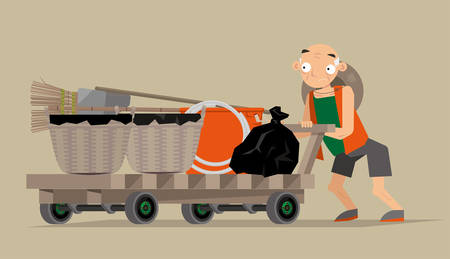 Vector illustration of a waste collector in Hong Kong