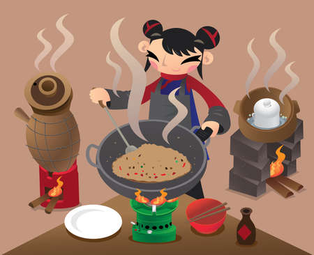 A Chinese village woman stir-fry rice with a big wok in preparing meal
