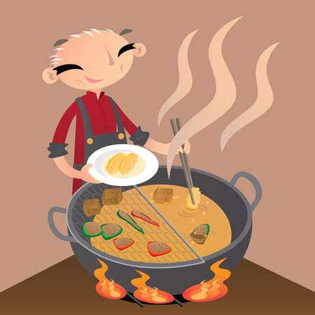 Un vecchio cinese prepara degli spuntini da strada friggendoli in un grande wok Vettoriali