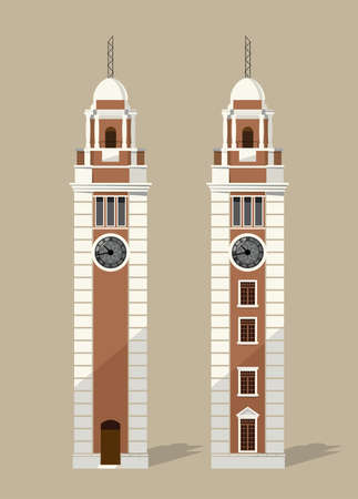 Tsim Sha Tsui Clock Tower is an iconic landmark in Hong Kong, has been listed as a declared monument in Hong Kong since 1990.  イラスト・ベクター素材