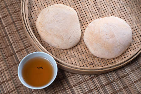 Chinese White Sugar Soft Cakes (soft bread), a traditional popular Chinese folk snack, round shape and sweet in taste Imagens