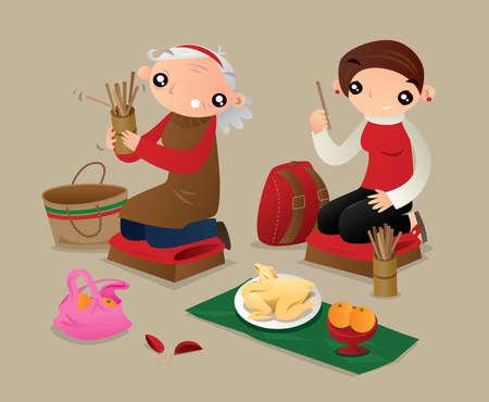 Dos mujeres sacuden un tubo de palos de la fortuna para sacar un montón de predicciones futuras. Durante las vacaciones del año nuevo chino, algunas personas de Hong Kong irán a los templos y obtendrán una predicación de fortuna de sus dioses. Ilustración de vector
