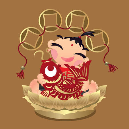 Chinese New Years lucky symbol: A lucky boy carry a big fish. It represents a blessing of