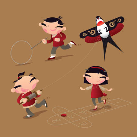 Classic old Chinese kid games: hoop rolling, kite flying and hopscotch Stock Illustratie