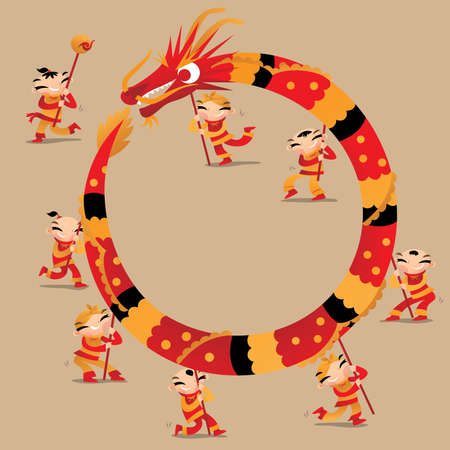 Chinese kids play dragon dancing to celebrate Chinese new year festival and from a circle as a frame