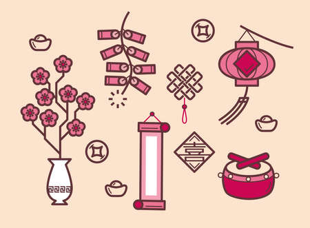 Simple graphic illustration of Chinese New Year festival items