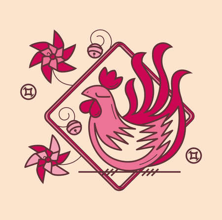 Simple graphic of Chinese zodiac rooster Ilustração