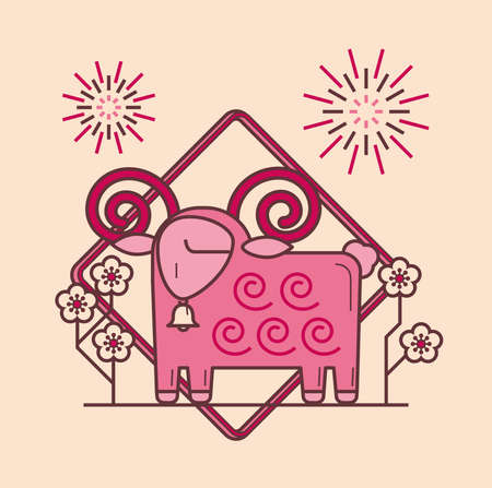 Simple graphic of Chinese zodiac ram