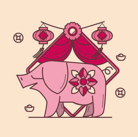 Simple graphic of Chinese zodiac pig