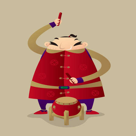 A Chinese fat man playing drum to celebrate Chinese New Year coming Ilustração