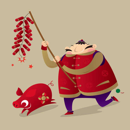 A Chinese fat man playing firecrackers to celebrate Chinese New Year coming