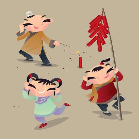 Chinees kind dat vuurwerk speelt