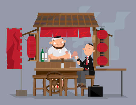 Vector illustration of a traditional Japanese mobile food stall (Yatai)
