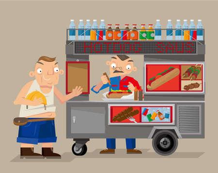 Vector illustration of a mobile street food vendor in New York city Ilustração