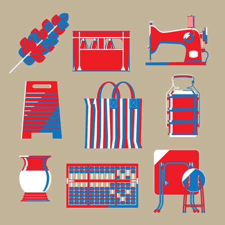 Graphic illustration of Hong Kong nostalgic household items