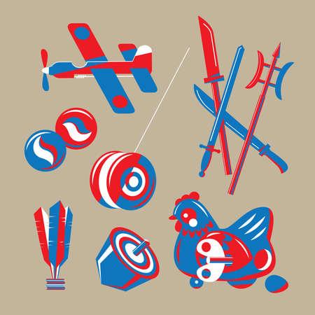 Graphic illustration of Hong Kong nostalgic toys