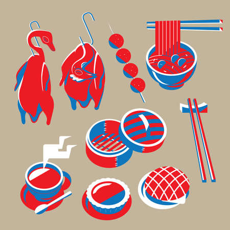 Graphic illustration of Hong Kong featured foods