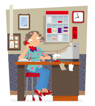 Vector illustration of a cashier working in a local Hong Kong-styled cafe