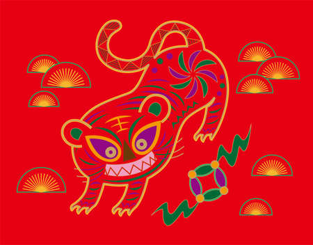 Vector illustration of Chinese embroidery tiger pattern. Tiger in Chinese culture represent strength, mightiness and a blessing for good health. Ilustração