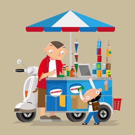 Illustration vectorielle d'un marchand ambulant de glaces à moto à Hong Kong Vecteurs