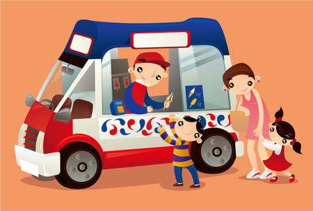 Ice-cream truck vendor in Hong Kong Ilustração