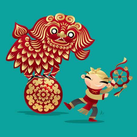 Chinese kids playing lion dancing Ilustração
