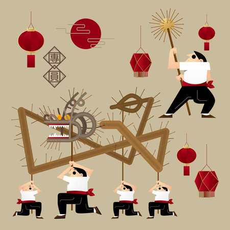 Ilustración gráfica del dragón de fuego (cubierta con varitas de incienso) Danza en el festival de mediados de otoño en Hong Kong