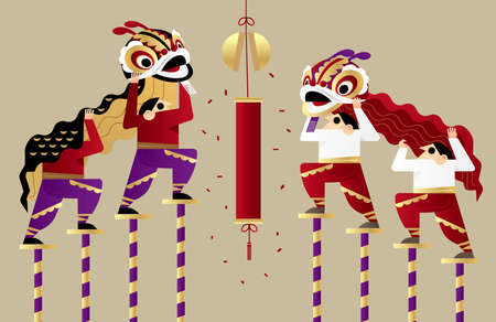 Graphic illustration of acrobatic Chinese lion dancing performance