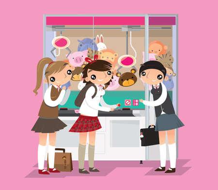Japanese high schoolgirls playing crane game