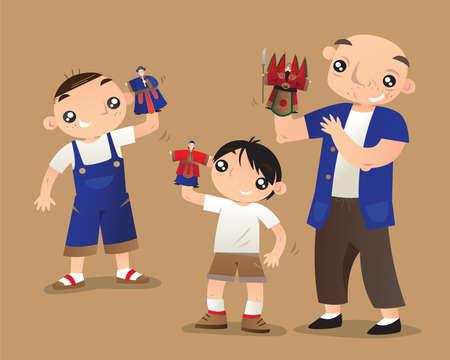Un anciano maestro chino enseña a dos niños a controlar títeres de guantes. La marioneta de guantes es una de las artes escénicas tradicionales populares en Taiwán.