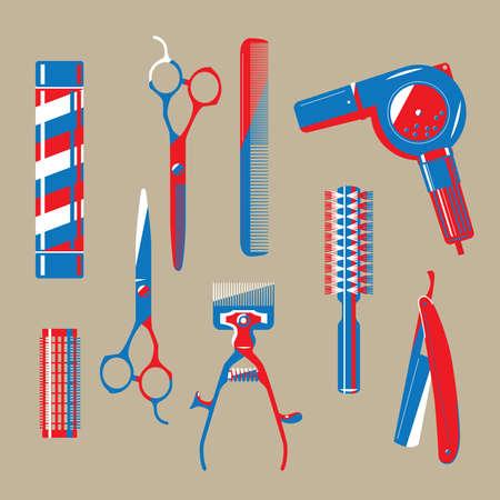 Graphic illustration of vintage barbershop items Ilustração