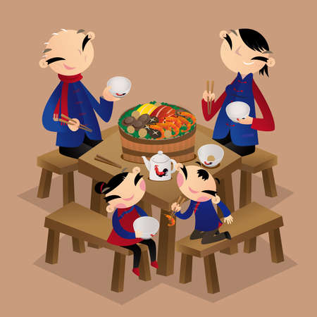 A Chinese family enjoys eating walled village dish (Poon Choi). It is a traditional Cantonese dish, popular in New Territories, Hong Kong. Banco de Imagens - 120703266
