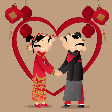 Cartoon illustration of a Chinese couple wear with traditional Chinese wedding costumes