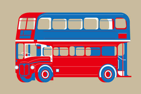 Graphic vector of London vintage bus