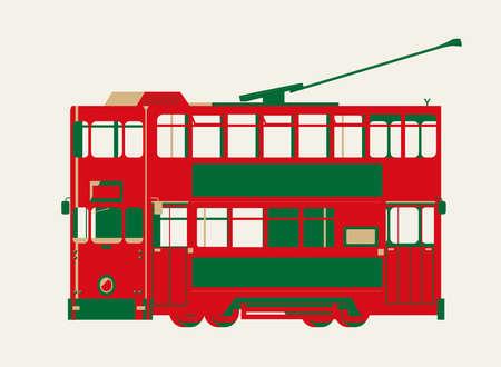 Graficzny wektor tramwaju w Hongkongu. Jest to jedna z najwcześniejszych form transportu publicznego w Hongkongu i stała się kultowym symbolem miasta.