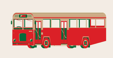 Graphic vector of an vintage single-decker bus