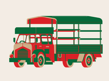 Graphic vector of a vintage old-fashioned lorry in Hong Kong