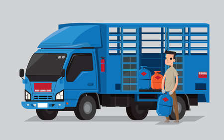 Liquefied petroleum gas cylinders delivery lorry and deliveryman in Hong Kong