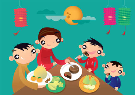 Eine Familie aus Hongkong genießt ihre Familienzeit und teilt die festlichen Speisen beim chinesischen Laternenfest